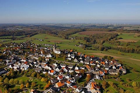 Aerial photo, Catholic church, Koertlinghausen Castle, Kallenhardt, Ruethen, Kreis Soest, Soester Boerde, South Westphalia, North Rhine-Westphalia, Germany, Europe
