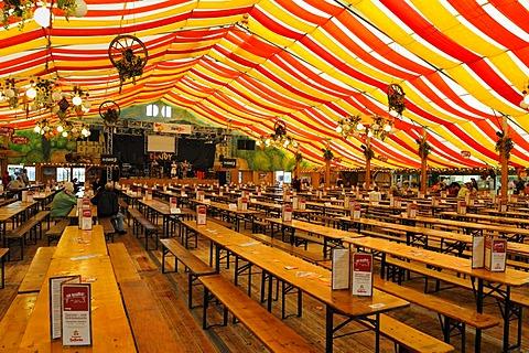 Empty party tent, Cannstatter Wasen, Bad Cannstatt, Baden-Wuerttemberg, Germany, Europe