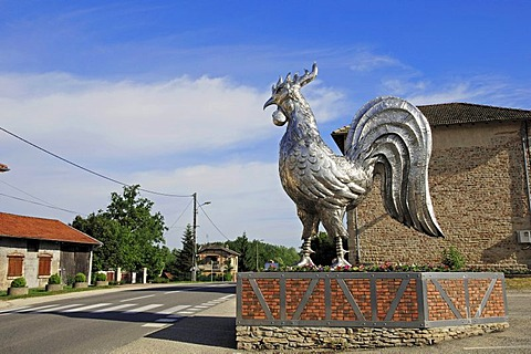 Rooster, cock sculpture, Bresse, Rhone-Alpes, Ain, France, Europe