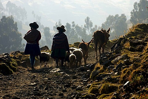 Local people near Huaraz, Peru, South America