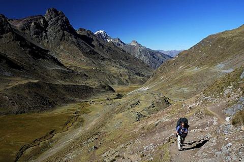 Hiker in the Cordillera Huayhuash, Peru, South America