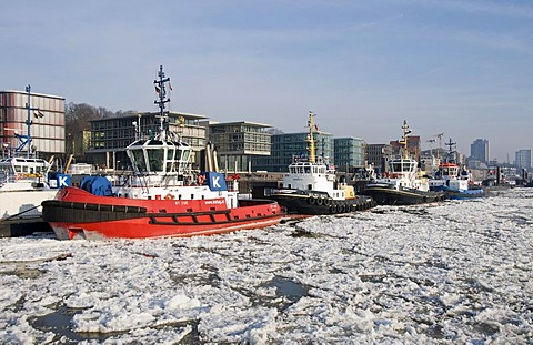 Harbour tugs anchored in front of Altona at the Port of Hamburg, at back the Elbperlen, Hamburg, Germany, Europe