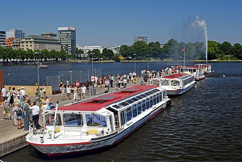 Alster Lake steamer quay in Hamburg, Germany, Europe