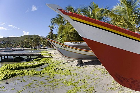 Fishing boats on Pampatar Beach, Margarita Island, Caribbean, Venezuela, South America