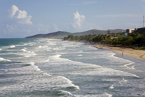 "Long breakers on the ""Playa Guacuco"" Beach, Margarita Island, Caribbean, Venezuela, South America"
