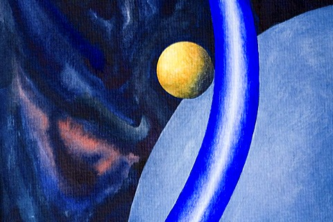 Acrylic painting, theme: planets of the universe, by the artist Gerhard Kraus, Kriftel, Germany
