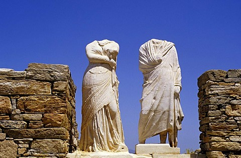 Antique statues without heads on the island of Delos, Greece, Europe