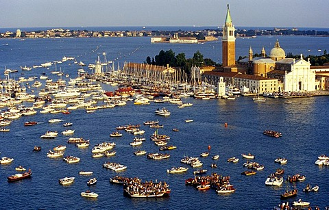 Gathering of boats in front of the island and Church of San Giorgio Maggiore to celebrate the Festa del Redentore, Venice, Italy, Europe - 832-247304
