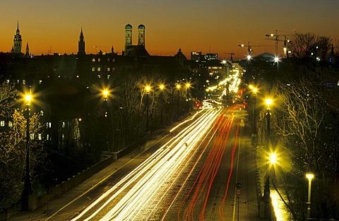 Maximilianstrasse Street and Frauenkirche Church at night, Munich, Bavaria, Germany, Europe