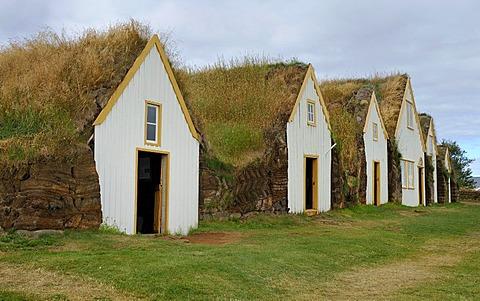 Museum courtyard Glaumbaer, open-air museum, sod yard, turf walls, grass roofs, wood facade, Iceland, Europe
