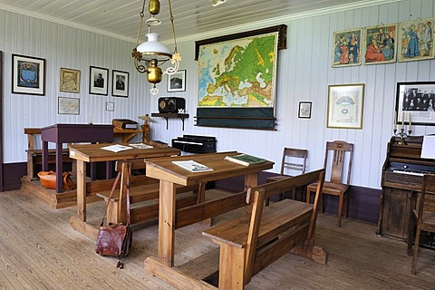 Interior view of the school in the open air and local history museum in Skogar, Byggasafni i Skogum, Iceland, Europe