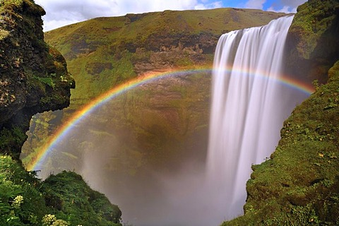 Skogafoss Waterfall with rainbow, South Coast, Iceland, Europe
