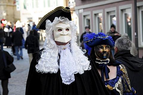Masks, carnival Hallia Venezia, Schwaebisch Hall, Baden-Wuerttemberg, Germany, Europe