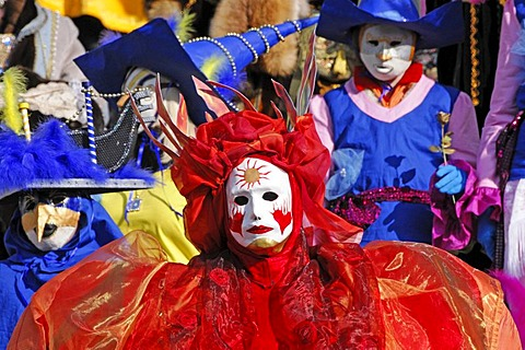 Masks, Hallia Venezia Festival, Schwaebisch Hall, Baden-Wuerttemberg, Germany, Europe