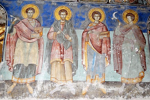 Medieval frescoes in the church of St Athanasius the Apostolic, Kisha e Shen Thanasit, Voskopoje, Albania, Balkans, Europe