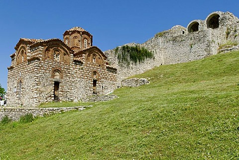 Historic orthodox church in Berat Fortress, UNESCO World Heritage Site, Albania, Europe