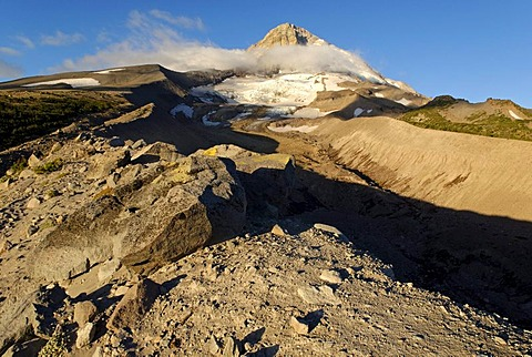 Eastern edge of Mount Hood volcano and Elliot Glacier, Cooper Spur Trail, Cascade Range, Oregon, USA