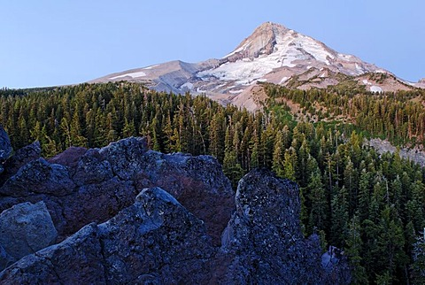 Eastern flank of Mount Hood Volcano with the Elliot Glacier, Cloud Cap, Cascade Range, Oregon, USA