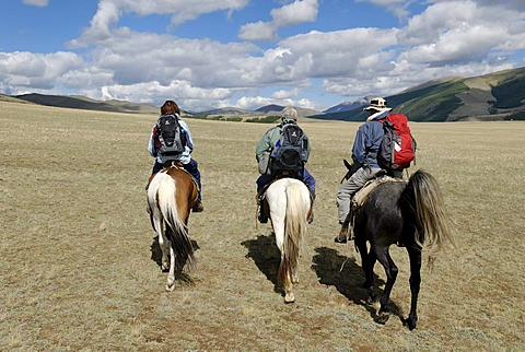 Horse riding, a group of tourists riding through the Chuja Steppe, Sailughem, Saylyugem Mountains, Altai Republic, Siberia, Russia, Asia