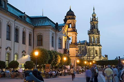 Sekundogenitur building and Hofkirche cathedral, Bruehlsche Terrassen terraces at dusk, Dresden, Saxony, Germany