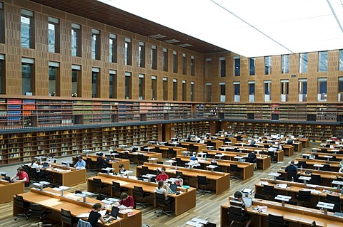Reading room, Saechsische Landesbibliothek, university library, Dresden, Saxony, Germany