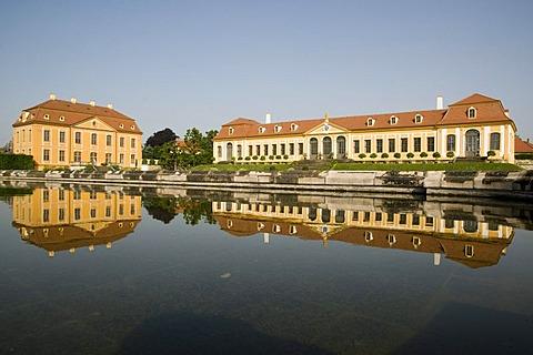 Friedrichschloesschen castle and Obere Orangerie upper orangery, baroque Garden Grosssedlitz, Dresden, Saxony, Germany