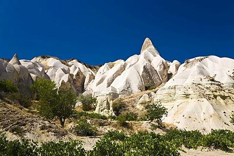 Tuff rock landscape near Goereme, Cappadocia, Central Anatolia, Turkey, Asia