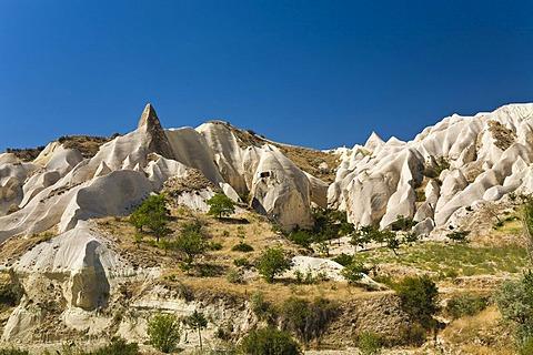 Rock Valley, tuff rock landscape near Goereme, Cappadocia, Central Anatolia, Turkey, Asia