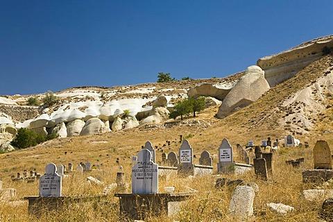 Old cemetery amidst a tuff rock landscape near Goereme, Cappadocia, Central Anatolia, Turkey, Asia