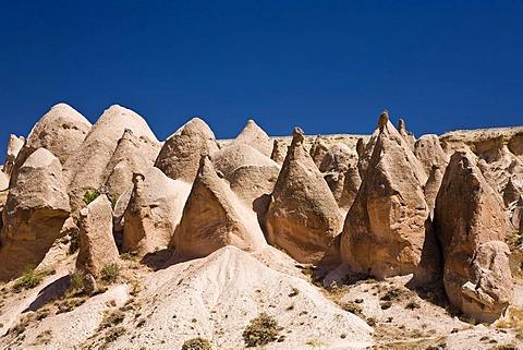 Tuff rock landscape in Devrent Valley near Zelve, Cappadocia, Central Anatolia, Turkey, Asia