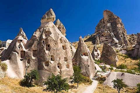 Rock dwellings of Uchisar, Cappadocia, Cental Anatolia, Turkey, Asia