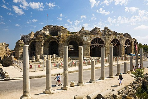 Roman amphitheatre in Side, Turkish Riviera, Turkey, Asia