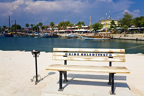 Bench at the port of Side, Turkish Riviera, Turkey, Asia