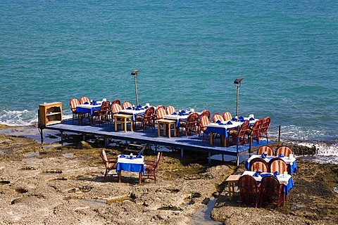 Set tables by the sea, Side, Turkish Riviera, Turkey, Asia