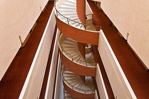 Spiral staircase in the Selge Beach Resort, Turkish Riviera, Turkey, Asia