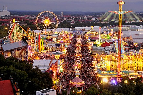 Evening view over the Oktoberfest from St. Paul's Church, Munich, Bavaria, Germany, Europe - 832-249999