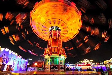 Chain carousel at night, Oktoberfest, Munich, Bavaria, Germany, Europe - 832-250000