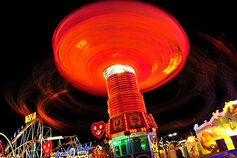 Chair-O-Planes or swing carousel at night, Octoberfest, Munich, Bavaria, Germany, Europe