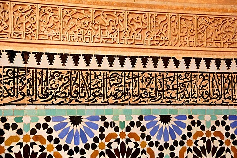 Wall mosaic on the tomb of the Alaouite Sultan Mulay el-Yazid, 1790-1792, Saadian Tombs in the medina quarter of Marrakesh, Morocco, Africa