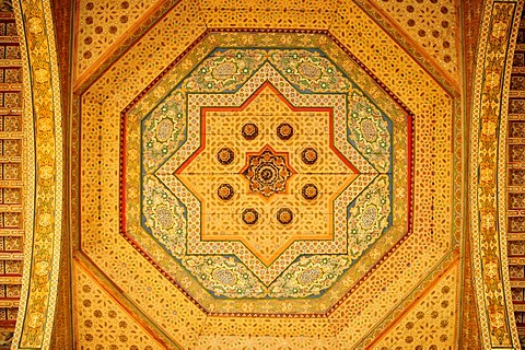 Coffering on the ceiling of the Bahia Palace, Marrakesh, Morocco, Africa