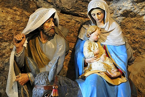 Depiction of Mary, Joseph and young Jesus in the Milk Grotto, Bethlehem, West Bank, Israel, Middle East, the Orient