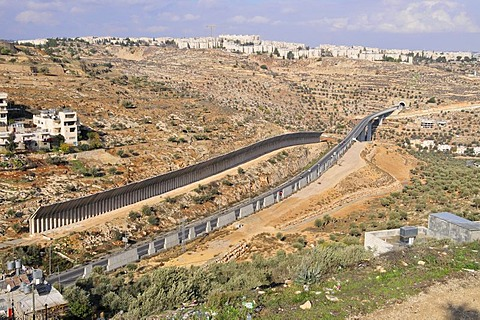 The up to 8m high wall dividing Israel and the Palestinian West Bank, near Bethlehem, West Bank, Israel, Near East, Orient