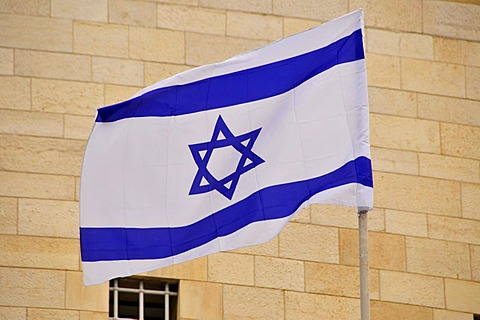 Israeli flag with the Star of David, Jerusalem, Israel, Middle East, the Orient