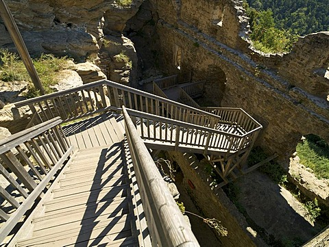 Stairs in the Aggstein ruins, Aggsbach, Wachau region, Lower Austria, Austria, Europe