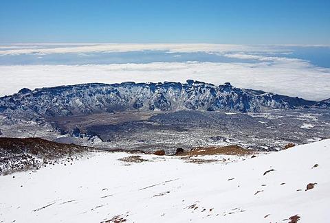 Caldera of Teide, crater's edge, Parque Naciona del Teide, Teide National Park, Tenerife, Spain, Europe