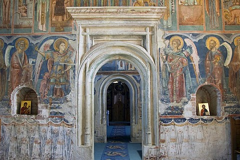 Pridvor, entrance of the Church of St Nicholas, UNESCO World Heritage Site, Probota Monastery, South Bucovina, Moldavia, Romania, Europe