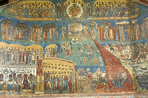 Church of St George of the Voronet Monastry, exterior wall paintings representing the biblical scene The Last Judgment, UNESCO World Heritage Site, South Bucovina, Moldavia, Romania, Europe