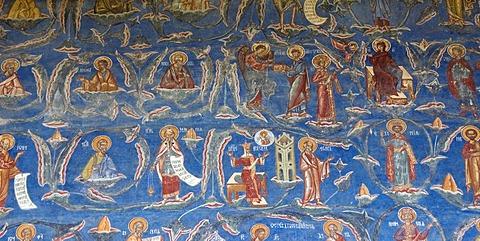 Exterior fresco depicting a biblical scene, Tree of Jesse, St. George church, Voronet, UNESCO World Heritage Site, Southern Bukovina, Moldova, Romania, Europe