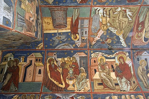 Interior frescoes, Church of the Assumption and St. George, UNESCO World Heritage Site, Humor, Southern Bukovina, Moldova, Romania, Europe - 832-250793
