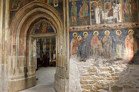 Interior frescoes, St. George Church, UNESCO World Heritage Site, Suceava, Southern Bukovina, Moldova, Romania, Europe